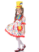 Anime Costumes AF-S2-644821 Kids Clown Costume Outfit Tunic Satin Carnival Costume Polka Dot Dress With Hat