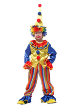 Anime Costumes AF-S2-644811 Kids Clown Costume Outfit 3 Piece Satin Boys' Blue Carnival Costume