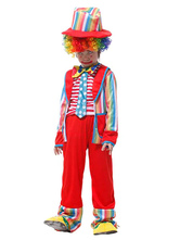 Anime Costumes AF-S2-644813 Kids Clown Costume Outfit In 4 Piece Multicolor Striped Children's Carnival Costume