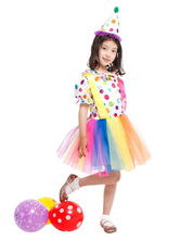 Anime Costumes AF-S2-644819 Kids Clown Costume Outfit Multicolor Tulle Carnival Dress Costume With Hat For Girls