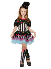 Anime Costumes AF-S2-644817 Kids Clown Costume Girls Polka Dot Carnival Costume Tiered Fancy Dress Set In3 Piece