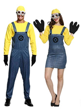 Anime Costumes AF-S2-644911 Minions Couples Costume Two Tone Suspender Pants And Dress With Hat