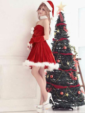 Anime Costumes AF-S2-645229 Sexy Christmas Costume Red Women's Strapless Short Dress Costume Outfit In 4 Pieces
