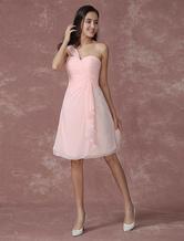 Vestido da Dama de honra corar rosa um ombro do Chiffon plissado Ruched