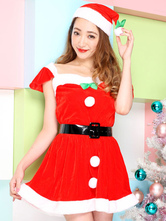 Anime Costumes AF-S2-645223 Sexy Christmas Santa Costume Red Short Sleeve Short Skater Dress With Hat And Sash