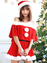 Anime Costumes AF-S2-645221 Sexy Christmas Santa Costume Red Off The Shoulder Short Sleeve Top With Mini Skirt And Hat