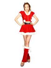 Anime Costumes AF-S2-645245 Sexy Christmas Costume Red Women's Hooded Crop Top Skirt Costume Outfit In 3 Pieces