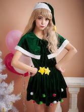 Anime Costumes AF-S2-645227 Christmas Sexy Costume Green Women's Cape Short Dress Costume Outfit