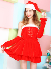 Anime Costumes AF-S2-645225 Sexy Christmas Santa Costume Red Bows Skater Dress In 4 Piece Set