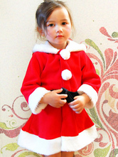 Anime Costumes AF-S2-645211 Christmas Santa Costume Red Long Sleeve Skater Dress Santa Claus Costume For Kids