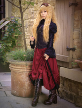 Anime Costumes AF-S2-645141 Steampunk Vintage Costume Burgundy Long Skirt Pirate Retro Costume
