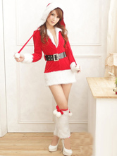 Anime Costumes AF-S2-645201 Sexy Christmas Costume Red Santa Lingerie Dress With Belt