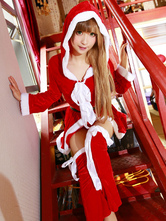 Anime Costumes AF-S2-645239 Sexy Christmas Costume Red Women's Hooded Big Bow Crop Top With Skirt Costume Outfit In 3 Pieces