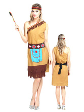 Anime Costumes AF-S2-646063 Halloween Sexy Costume Indian Women's One Shoulder Khaki Dress With Tassels