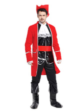 Anime Costumes AF-S2-646033 Red Men's Pirate Costume Outfits Captain Jack Costume
