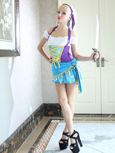 Anime Costumes AF-S2-646095 Sexy Halloween Costume Gypsy Women's Halter Color Block Mini Dress