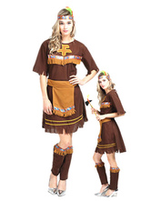 Anime Costumes AF-S2-646067 Halloween Sexy Costume Indian Women's Short Sleeve Crew Neck Dress Costume Outfit