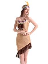 Anime Costumes AF-S2-646087 Sexy Indian Costume Halloween Women's Khaki Bodycon Tassels Slip Dress And Headpiece