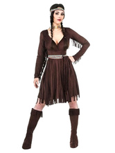 Anime Costumes AF-S2-646071 Sexy Halloween Costume Women's V Neck Tassels Indian Costume Outfit