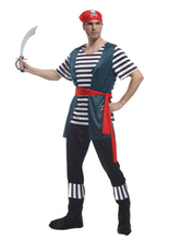 Anime Costumes AF-S2-646035 Men's Pirate Costume Striped Outfits Pirates Of The Caribbean Cosplay