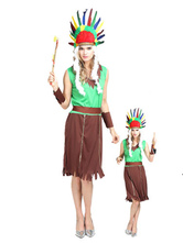 Anime Costumes AF-S2-646065 Halloween Sexy Indian Costume Women's Green Contrast Color Sleeveless Tassels Dress Costume Outfit