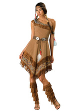 Anime Costumes AF-S2-646083 Sexy Indian Costume Halloween Women's One Shoulder Tassels Irregular Belted Dress And Headpiece