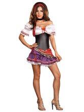 Anime Costumes AF-S2-646097 Sexy Halloween Costume Gypsy Women's Off Shoulder Ruffle Mini Dress Close Fitting Corset Costume Outfit