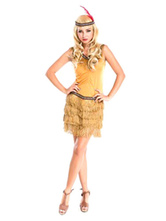 Anime Costumes AF-S2-646059 Women's Sexy Costume Halloween Indian Khaki Tiered Sleeveless Dress And Flapper Headband