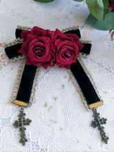 Lolitashow Sweet Lolita Brooches Rose Flower Bows Cross Pendant Stylish Lolita Accessories