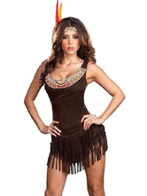 Anime Costumes AF-S2-646081 Halloween Sexy Costume Indian Women's Tassels Tank Dress With Flapper Headband