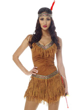 Anime Costumes AF-S2-646079 Halloween Sexy Costume Indian Women's Tiered Tassels Sleeveless Dress With Flapper Headband