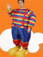 Anime Costumes AF-S2-646373 Carnival Clown Costume Air Inflation Sumo Men's Stripe Outfit Jumpsuit