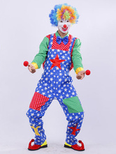 Anime Costumes AF-S2-646383 Carnival Clown Costume Men's Outfit Set Star Colored Top And Pants