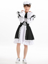 Anime Costumes AF-S2-646391 Halloween Couple Costume Maid Dress Outfit Set In 3 Piece For Adult