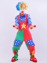 Anime Costumes AF-S2-646381 Carnival Clown Costume Men's Outfit Set Star Colored Top And Pants