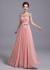 Chiffon Evening Dress Soft Pink Prom Dress Lace Flower Tassel A Line Maxi Graduation Dress With Bow Sash wedding guest dress