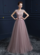 Pink Prom Dresses 2020 Long Tulle Graduation Dress Floor Length Lace Beading Applique Cut Out Party Dresses wedding guest dress