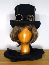 Anime Costumes AF-S2-648425 Steampunk Halloween Top Hat Women's Black Wool Costume Accessories