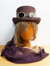 Anime Costumes AF-S2-648439 Halloween Steampunk Hat Brown Steampunk Goggles Detail Top Hat For Women