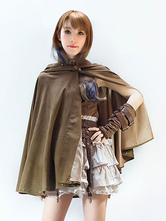 Anime Costumes AF-S2-648463 Steampunk Halloween Costume Cloak Women's Vintage Suede Brown Poncho Cape