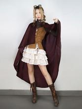 Anime Costumes AF-S2-648455 Steampunk Halloween Costume Women's Suede Burgundy Cloak