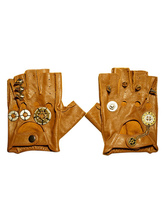 Anime Costumes AF-S2-648421 Steampunk Leather Gloves Vintage Brown Fingerless Cover Retro Costume Accessories