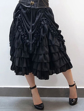 Anime Costumes AF-S2-648431 Halloween Steampunk Costume Black Ruffle Tiered Skirt