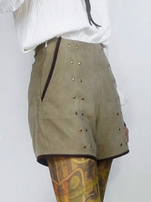 Anime Costumes AF-S2-648433 Halloween Steampunk Costume Women's Khaki Suede Shorts
