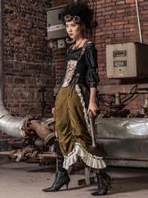 Anime Costumes AF-S2-648373 Women's Steampunk Skirt Vintage Victorian Costume Split Ruffle Maxi Skirt