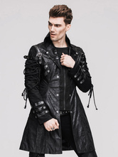 Anime Costumes AF-S2-648403 Steampunk PU Leather Overcoat Men's Vintage Retro Black Costume Lace Up Coat
