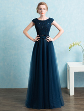 Blue Prom Dress 2019 Long Tulle Beading Evening Dresses Dark Navy Backless Floor Length Party Dresses wedding guest dress