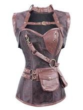 Anime Costumes AF-S2-648415 Women's Steampunk Corsets Steel Boning Belt Vintage Retro Costume Top
