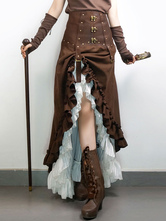 Anime Costumes AF-S2-648465 Halloween Steampunk Costume Skirts Women's Vintage Brown Suede Ruffle High Low Long Skirt