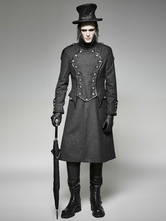 Anime Costumes AF-S2-648401 Men's Steampunk Costume Vintage Wool Button Overcoat Retro Clothing